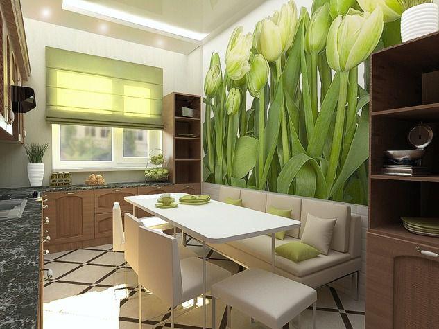 Кухня в зелено коричневых тонах фото