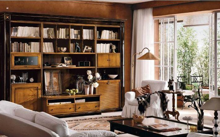 Кабинет; библиотека, цвет бежевый в стиле английский - фото .