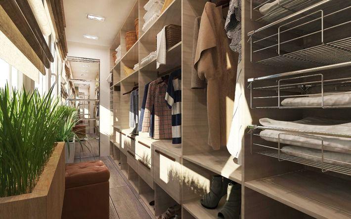 Проект: гардеробная комната на балконе (3 х 1.5 м), автор ко.