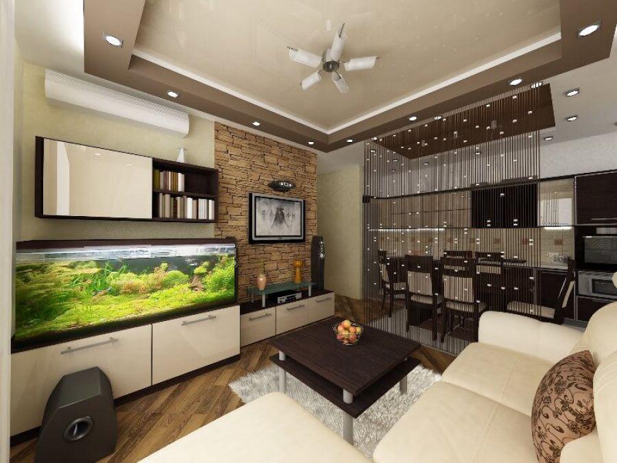 дизайн кухни студии 20 квм совмещенной