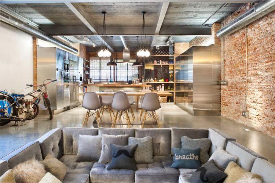 дизайн кухни гостиной в стиле лофт советы и примеры