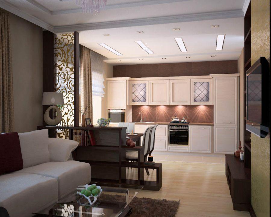 дизайн кухни гостинной 25 квадратных метров